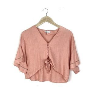 Moon River Pink Tie-Front Buttoned Top